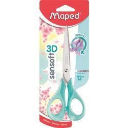 """Olló, általános, 16 cm, rugalmas nyél, MAPED """"Sensoft 3D"""", vegyes pasztell színek"""