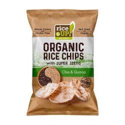 "Barnarizs chips, 25 g, RICE UP ""Bio"", chia maggal és quinoával"